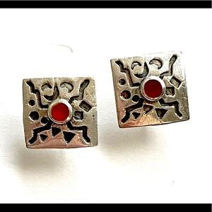 Red stone sterling silver stud earrings 925